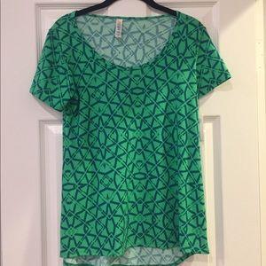 LulaRoe green geometric Classic T shirt top XXS